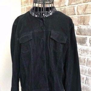 Black Corduroy Jacket  Harold's Beaded Collar